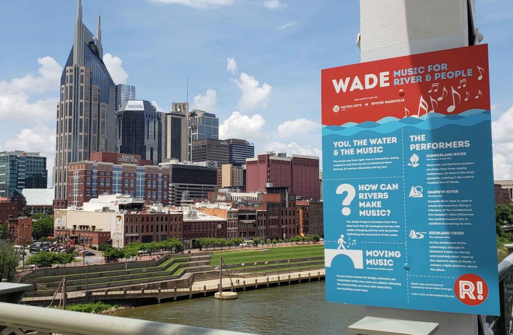 WADE music for rivers and people sign on pedestrian bridge in Nashville over Cumberland River